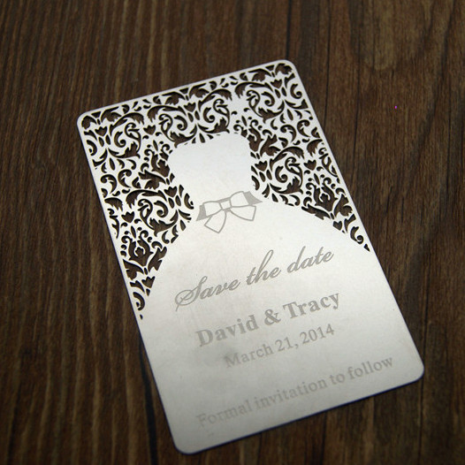 laser cut metal wedding invitation card double sided printed
