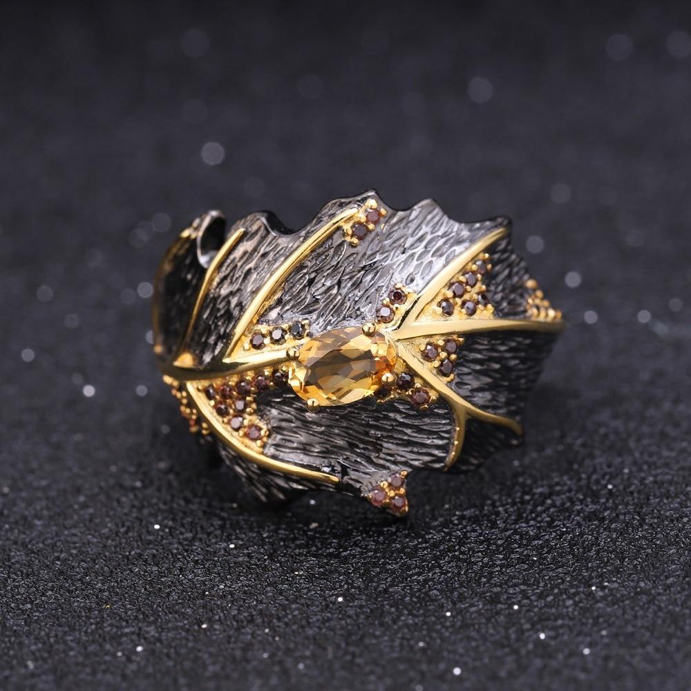 GEM'S BALLET Georgia O'keeffe Natural Citrine 925 Sterling Silver Handmade Leaves Ring Earrings Pendant Jewelry Set For Women