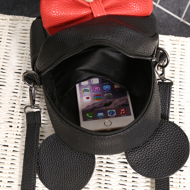 2018 New Mickey Backpack Pu Leather Female Mini Bag Women's Backpack Sweet Bow Teen Girls Backpacks School Bag Lady Shoulder bag 5