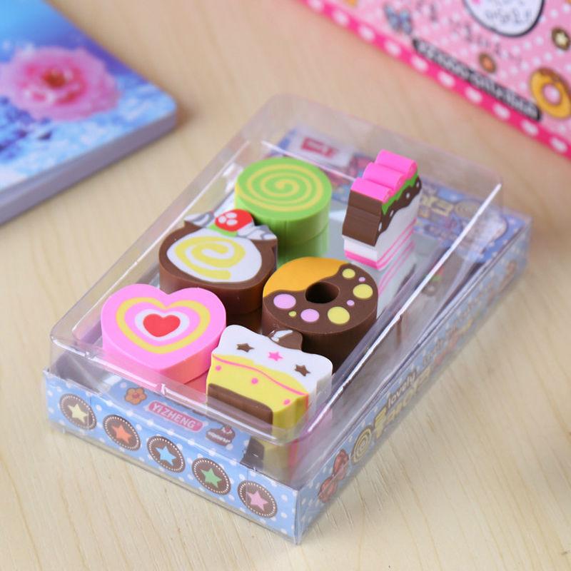 1 Pack / Lot Cute Little Cartoon Kawaii Chocolate Shape Eraser For Children School Supplies Creative Gifts Free Shipping