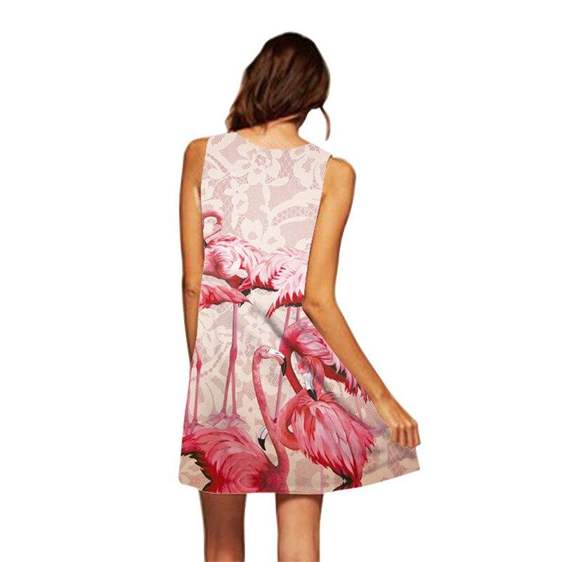 Plus Size S-3XL Sleeveless Beach Boho Dress Flamingo Floral Print Clothes Women 2019 Summer Short Shift Dresses Casual Vestido 4