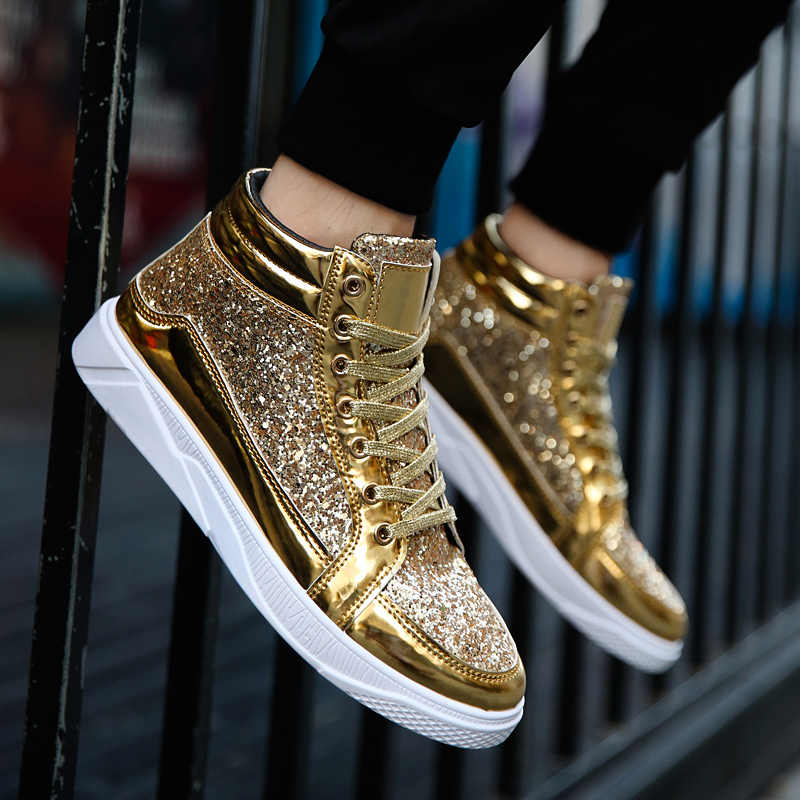 ... Valstone Hip Hop shoes Men leather casual sneakers Gold fashion  sneakers lace-up silver high 2a0be39c968f