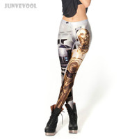 Strech Woman Leggings Full Tattoo Leg Pants Steel Robots Printed Corset Push Up Trousers Seamless Clubwear