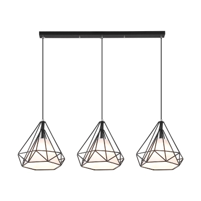 купить Nordic restaurant chandelier simple modern bar creative personality three-head art retro wrought iron diamond dining room lamps онлайн