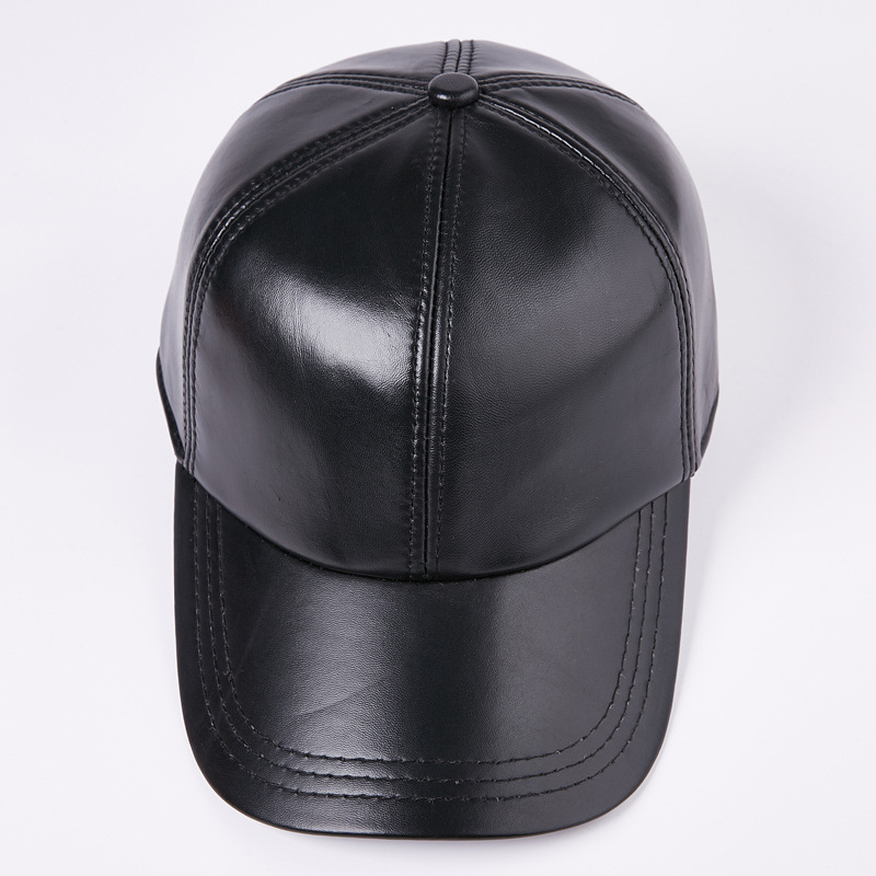 4c8a50e46fec New Genuine Leather Man s Baseball Cap Adult High Quality Fashion Caps Male  Solid Color Adjustable Caps