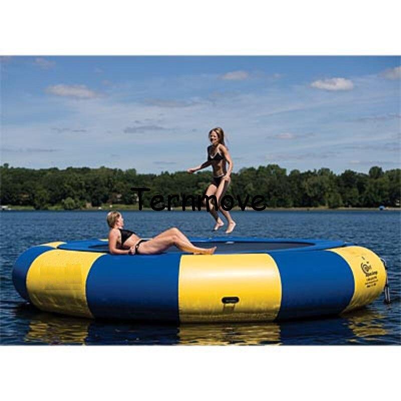 Trampoline gonflable de gymnastique de jouets de l'eau de flottement de cavalier d'eau à vendre lit gonflable de saut de mer de videur de l'eau
