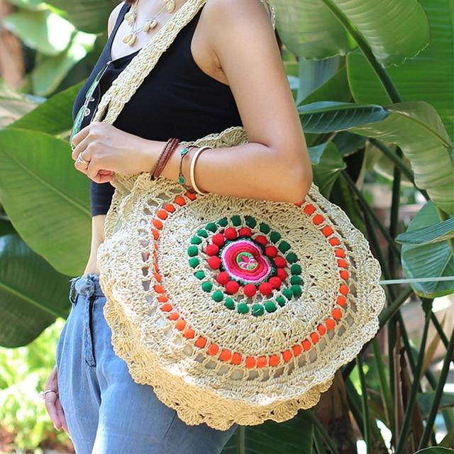 Unique Women Round Straw Rattan Handbag Female Summer Circle Woven Shoulder Bags Ladies Casual Circular Knitting Crossbody Bag