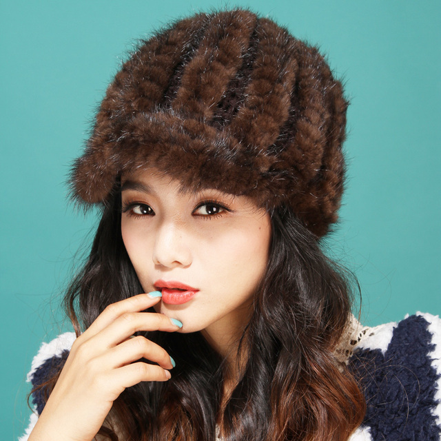 2015 fall autumn winter lady women new style tshow snow hat  headgear Beautiful natural ranch mink fur hat   caps hot peaked cap