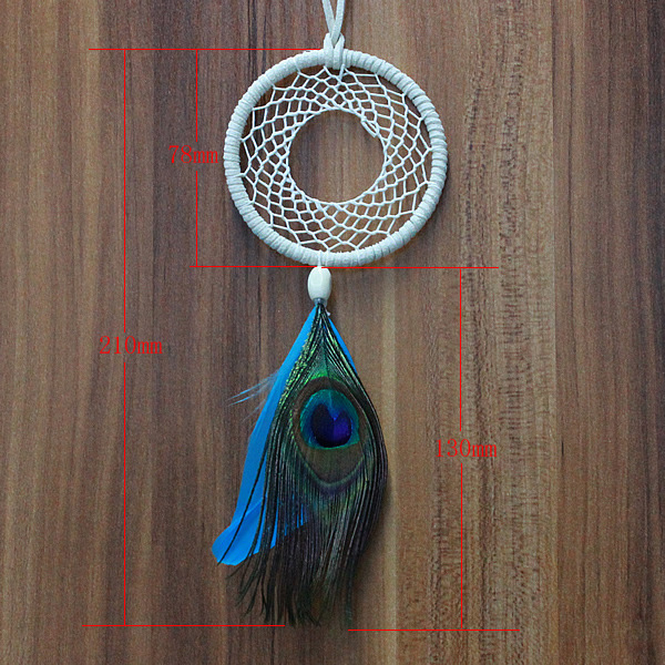 Dream Catcher Without Feathers Dreamcatcher Peacock Wind Chimes Indian Style Feather Pendant 7