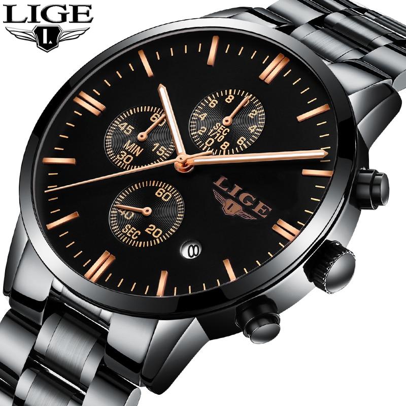 лучшая цена LIGE Men Watches Top Luxury Brand Men Sports Waterproof Quartz Watch Men Casual Business Black Chronograph Relogio Masculino+Box