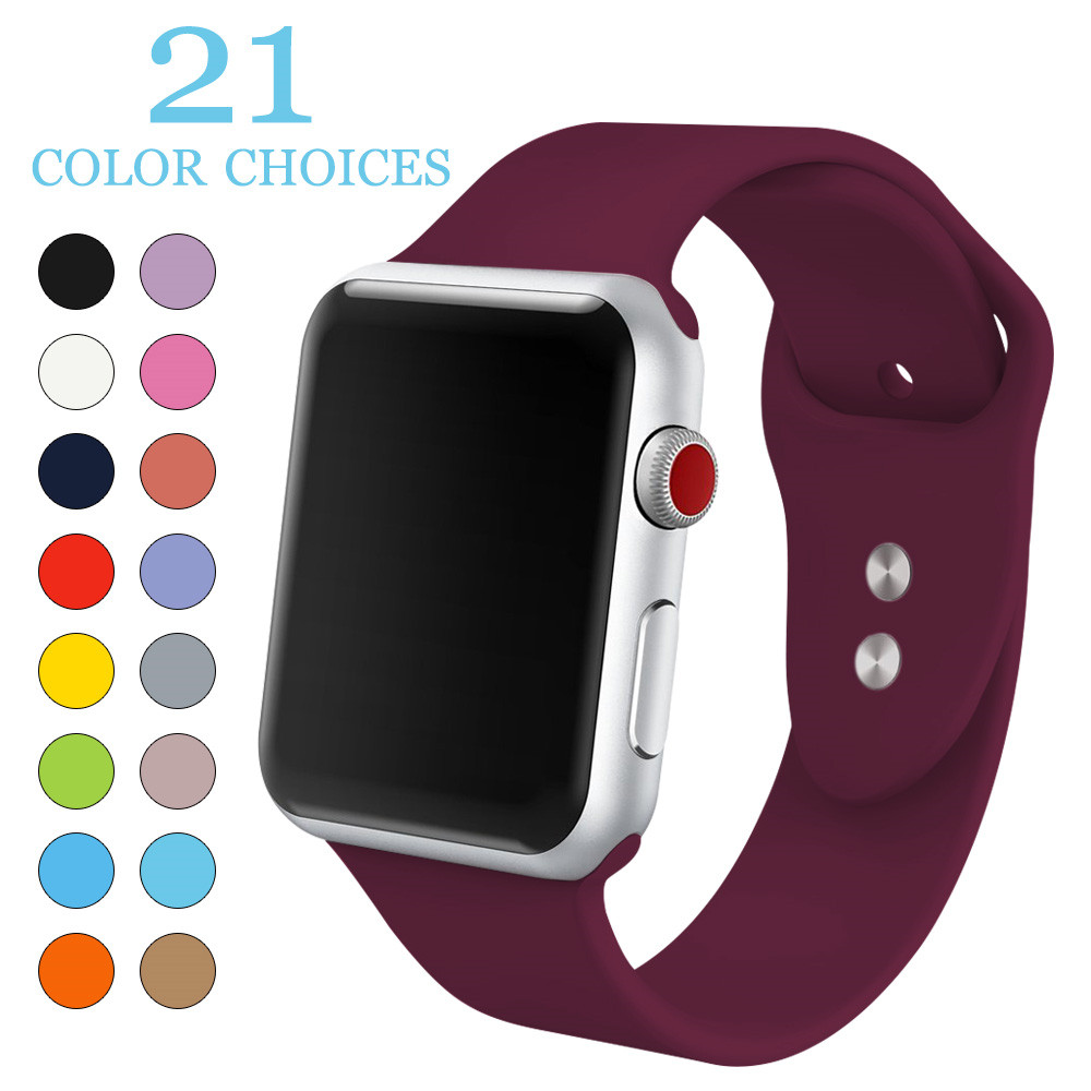 Soft Silicone Watch Strap For Apple Watch 38mm 42mm Fashion Replacement Wrist Strap Band For iwatch Series 1 2 3 Sports Edition apple watch replica
