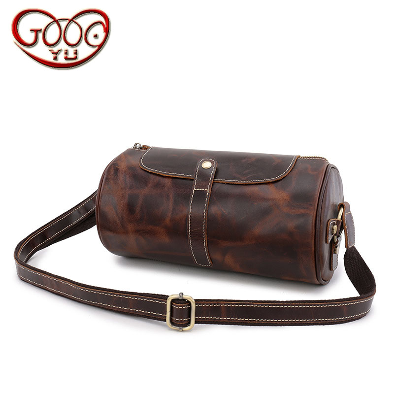 Men's leather retro cylindrical shoulder bag hot oil wax first layer of pure color diagonal package qiaobao 2018 new korean version of the first layer of women s leather packet messenger bag female shoulder diagonal cross bag