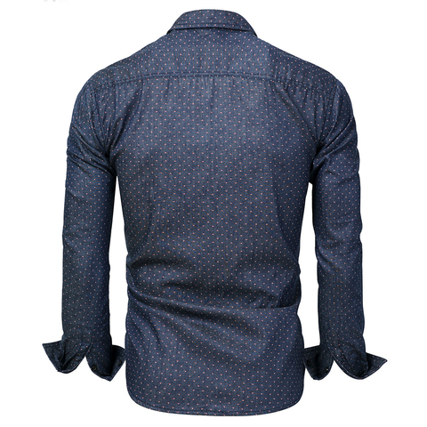 Hot Sell Brand 2018 Men Polka Dot Denim Dress Shirt Long Sleeve 100% Cotton High Quality Casual Shirt Male Social Shirts 3XL 120 Karachi