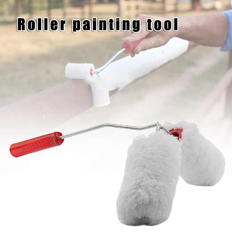 Double Paint Roller Painted Railing Corner Tool Portable Draw Pipes Fences Home PAK55