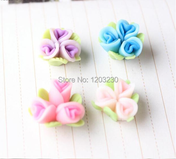 Handmade Fimo Clay Connected Three With Leaves Flowers 18mm
