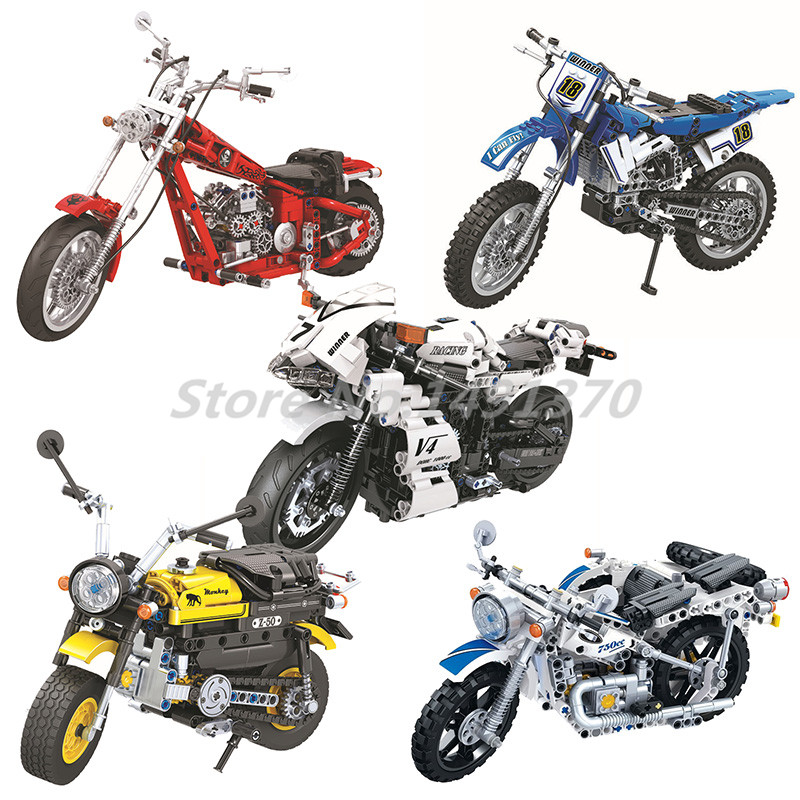 Technic Motorbike Series Building Blocks Cross Country Motorcycle Bicycle Bricks Model Educational Toys For Children Gifts aiboully 7061 550pcs technic motorbike motorcycle car bicycle building bricks blocks toys for children gift