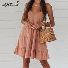 Женское льняное платье, сексуальное мини платье-рубашка, платья на бретелях без рукавов с v-образным вырезом, винтажные платья на лето и весну, женские платья, пляжный Сарафан