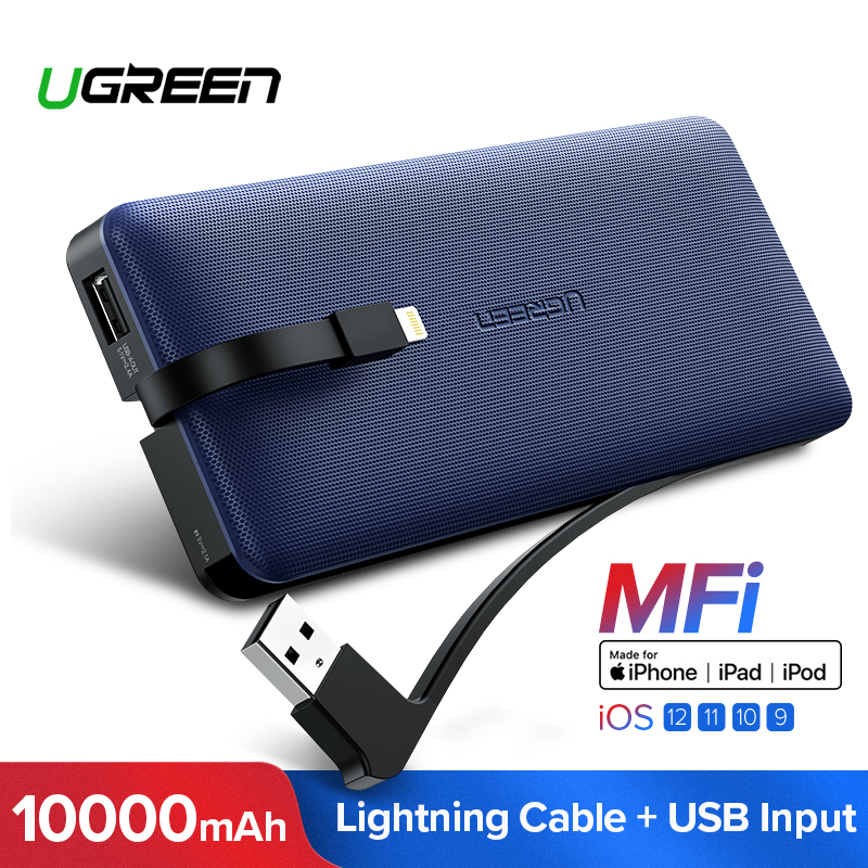 Ugreen Power Bank 10000mAh For iPhone X 7 Xiaomi External Battery Pack Powerbank For USB iPhone Cable Portable Charger PoverbankUgreen Power Bank 10000mAh For iPhone X 7 Xiaomi External Battery Pack Powerbank For USB iPhone Cable Portable Charger Poverbank