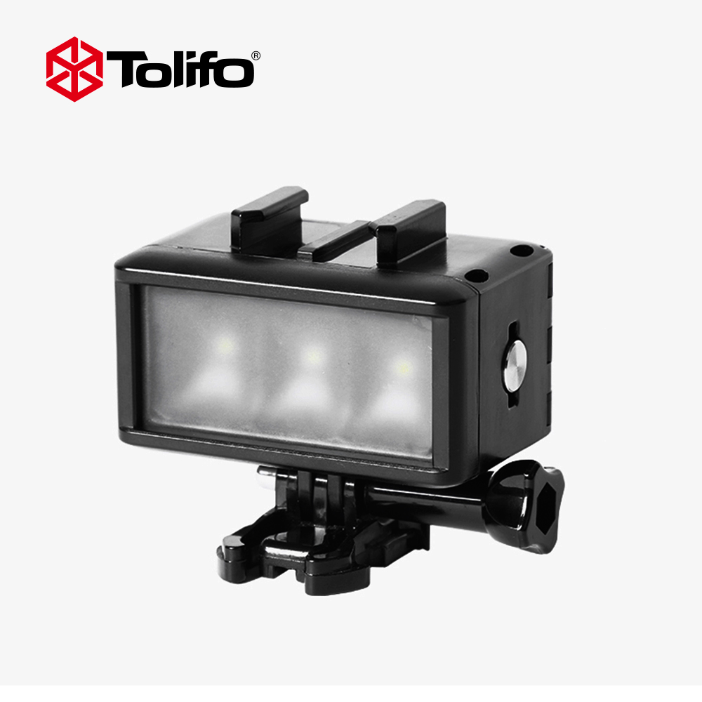 Tolifo HF-0301 Dimmable Waterproof Underwater LED Video Light with Built-in Battery Diving Fash Light for Gopro Sjcam Xiaomi yi