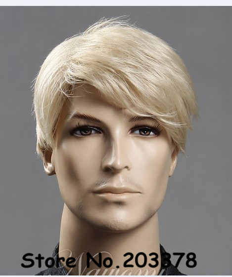 Strong Beauty Perruque Synthetic Hair Men Short Blonde Hair Wig For