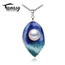 Fenasy joyería de perlas collar de la hoja, genuino collar de perlas naturales, cloisonné perla choker collar pendiente de las mujeres 2017 nuevo esmalte