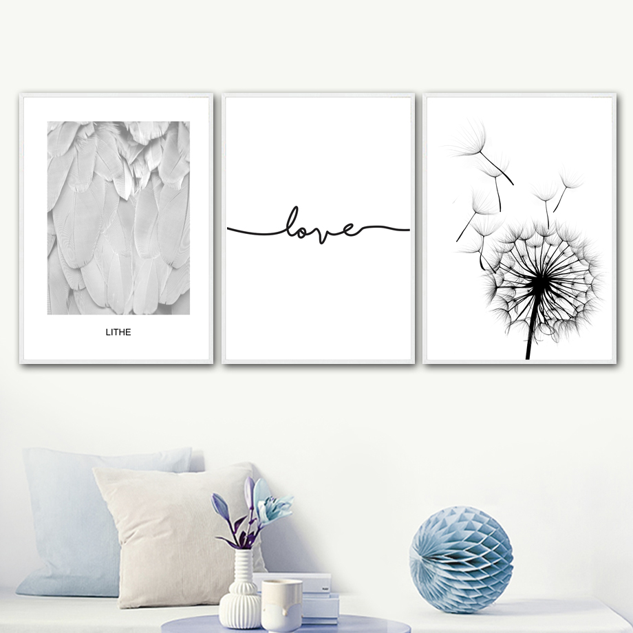 Dandelion Feather Love Quote Wall Art Canvas Painting
