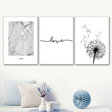 цена на Dandelion Feather Love Quote Wall Art Canvas Painting Nordic Posters And Prints Black White Wall Pictures For Living Room Decor