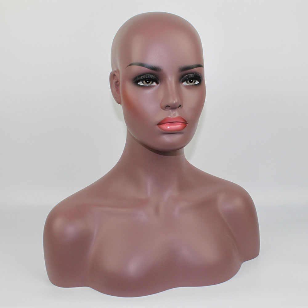Реалистичные оптоволоконные Афро-американский манекен голова бюст, черный женский манекен голова-манекен для кружевных париков дисплей