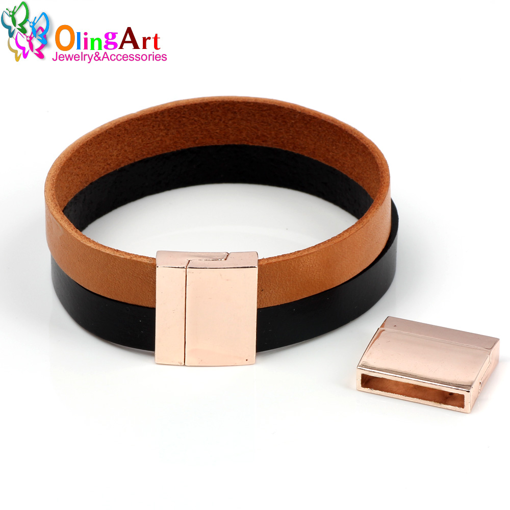 OlingArt 22 18mm 2Pcs lot magnetic Leather clasps Plating gold rose gold Jewelry making DIY cord bracelet Belt Necklace in Jewelry Findings Components from Jewelry Accessories