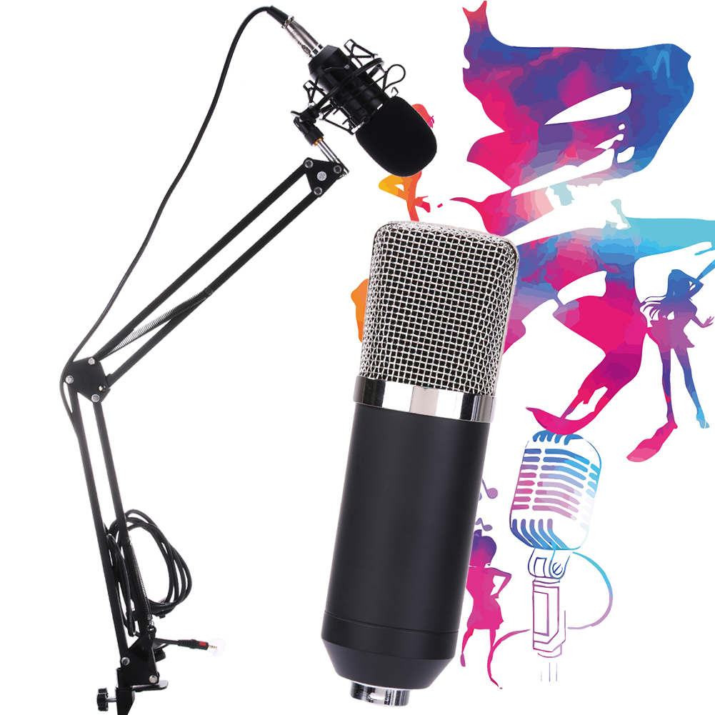 BM-700/ BM-800 Dynamic Condenser Sound Recording Microphone with Shock Mount for Radio Braodcasting KTV Karaoke leory bm 800 condenser sound recording microphone with shock mount for radio braodcasting singing recording kit ktv karaoke