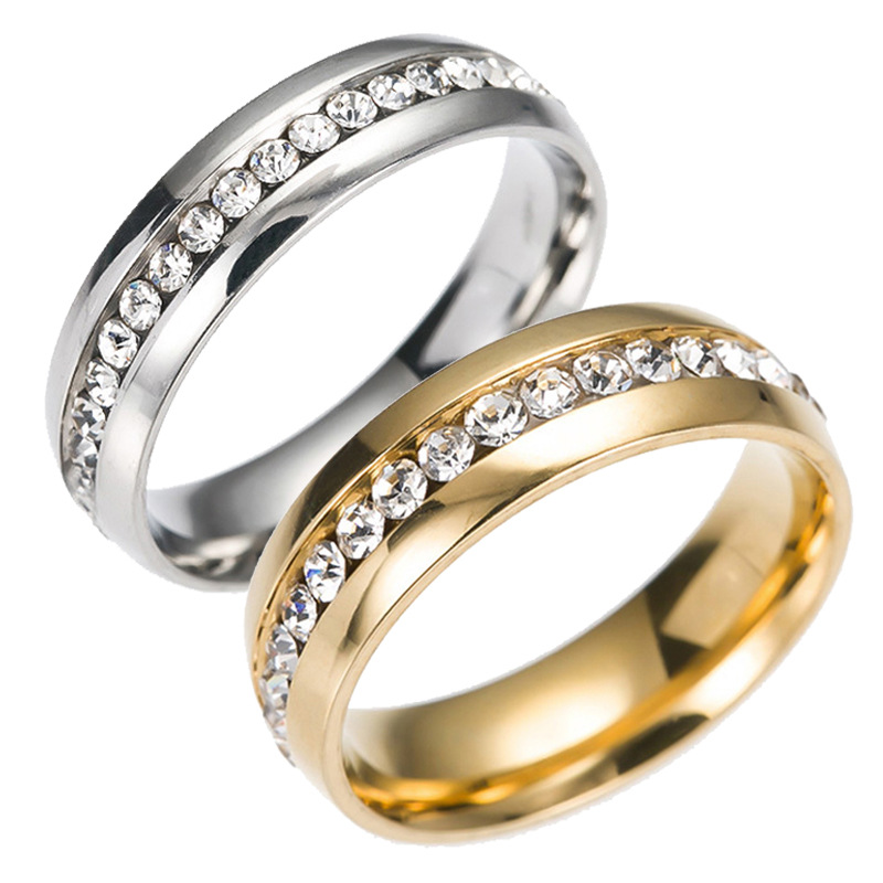 Wholesale 100pcs Mix Silver and Gold tone one Row Rhinestone Stainless Steel Wedding band Jewelry Rings