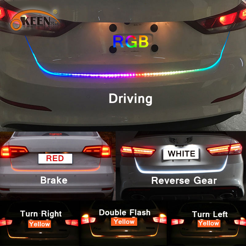 OKEEN 47.6 polegada RGB colorido fluindo LEVOU tira Tronco para tronco dinâmica antolhos levou transformar a luz do carro luzes Traseiras LED DRL Luz