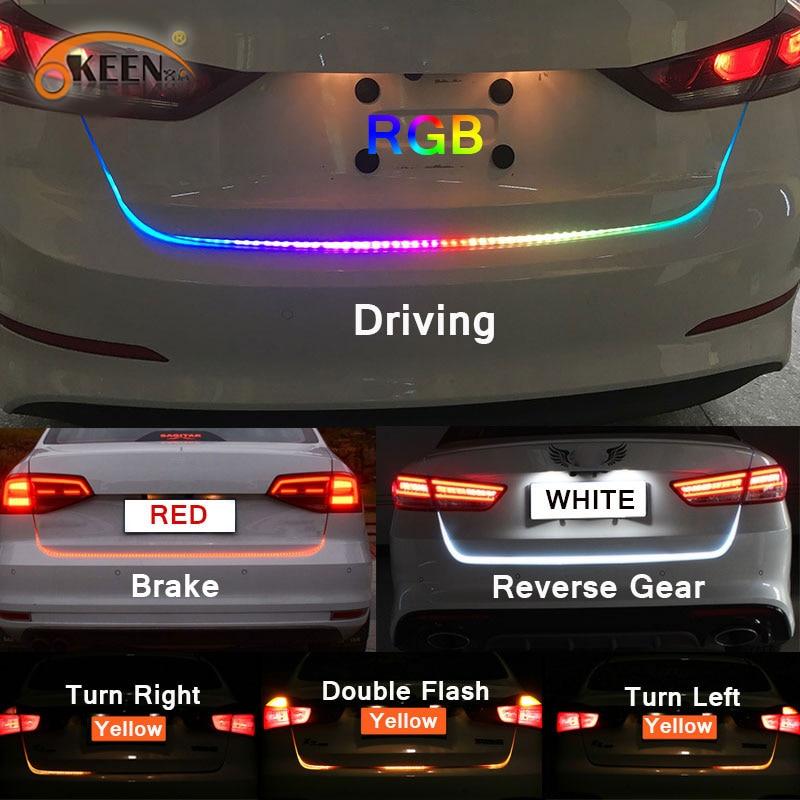 OKEEN 47,6 zoll RGB bunten fließende FÜHRTE Stamm streifen für auto stamm dynamische blinkers led drehen rückleuchten LED DRL licht