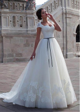 Smileven Wedding Dress Plus Size Lace Appliqued Cap Sleeves With Black Sash Bride Turkey Boho Ball Gown