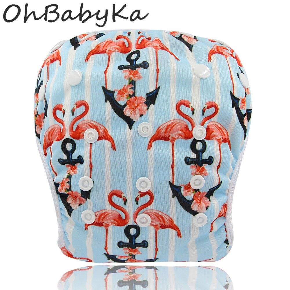 Ohbabyka Baby Swim Diaper Unisex Swimming Pants Flamingo Toddler Swimming Nappies Adjustable Summer Swimwear for Kids Pool Pant