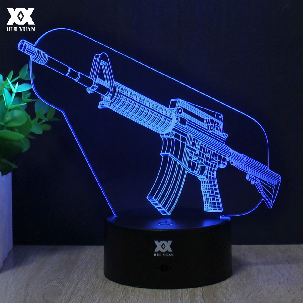USB 3D Gun Lamp Remote Control 7 Colors Changing Night Light LED Decorative Table Lamp AA Battery Child's Gift HUI YUAN Brand