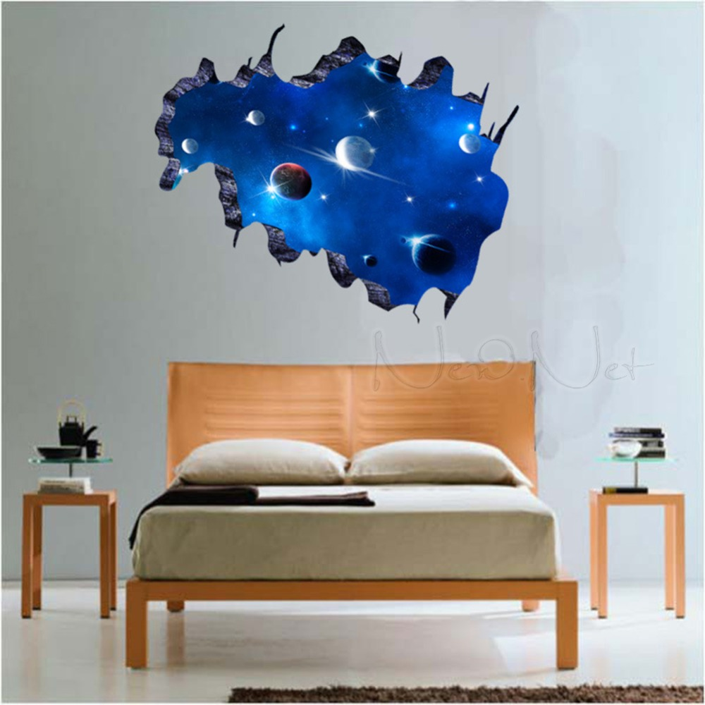 Online buy wholesale ceiling wallpaper galaxy from china for Bedroom 3d wall stickers