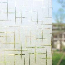 90*400 センチメートルクロスパターン静的しがみつく装飾ウィンドウフィルム、非接着剤ガラスカバーステッカー浴室の寝室のためオフィス装飾フィルム