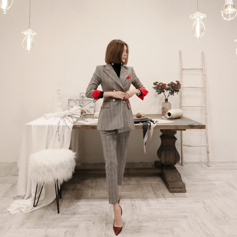 Spring new lattice stripes Korean Slim small suit jacket female fashion double-breasted slim suit suit tide