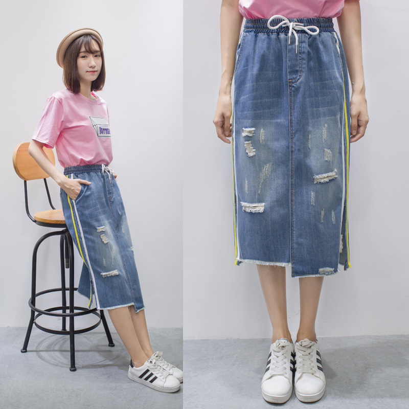 95f4a113da5a2 Detail Feedback Questions about Vetevidi High Waist Denim Skirts Women Calf  length Patchwork Stretch Jeans Skirts Elastic Loose Women Clothing 6666  on  ...