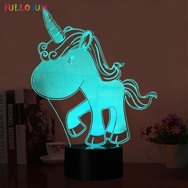 Novelty Lamp LED 3D Unicorn 5V USB Night Lights 3D LED 7 Colors Touch Table Lamp as Children's Room Toy Lights