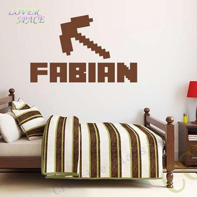 NEW Minecraft Custom Kids Name Removable Vinyl Wall Sticker Decor Nursery Boys Girls Bedroom Wall Stickers Home Decorative