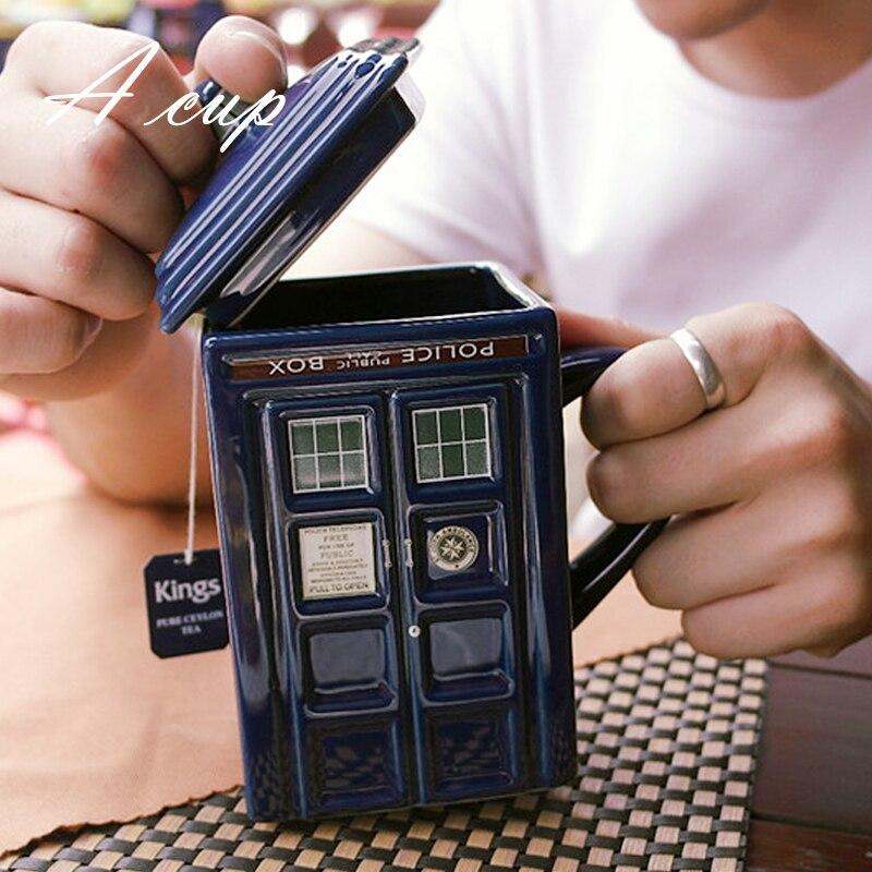 OUSSIRRO Free shipping Doctor Who Tardis Creative Police Box Mug Funny Ceramic Coffee Tea Cup For christmas Gift