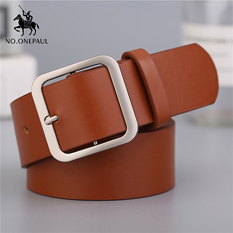 NO.ONEPAUL Women's genuine leather fashion retro punk   belt   alloy square pin buckle student jeans with high quality new   belts