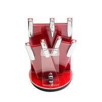 Czerwony akryl nóż ceramiczny uchwyt gorąca sprzedaż kuchnia gotowanie noże nóż stojak do 3, 4, 5, 6 cal noże i obierak