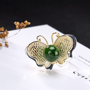 2019 Vintage Elegant Jasper Ring For Lady Real 925 Sterling Silver Butterfly Natural Stone Ring For Engagement Wedding Gift