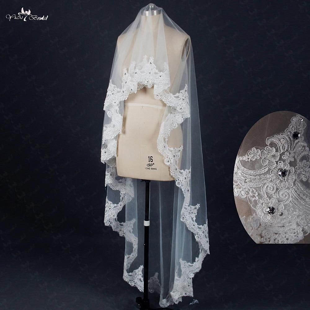 RSV25 Short Bridal Wedding Veils With Crystal