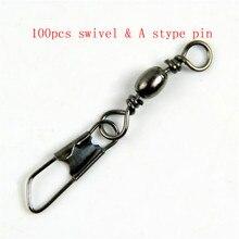 100 ピース/パック真鍮バレルスイベル一体リング釣りピンラインコネクタとインターロックスナップタックルツールフック