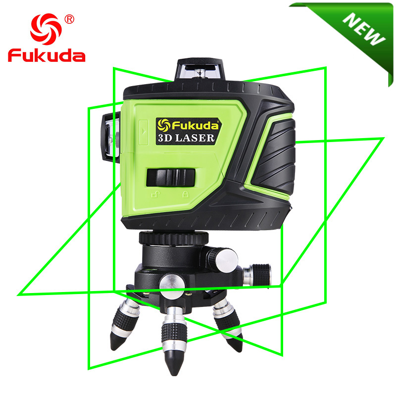 Fukuda Brand 12Lines 3D MW 93T 3GX Laser Level Self Leveling 360 Horizontal And Vertical Cross