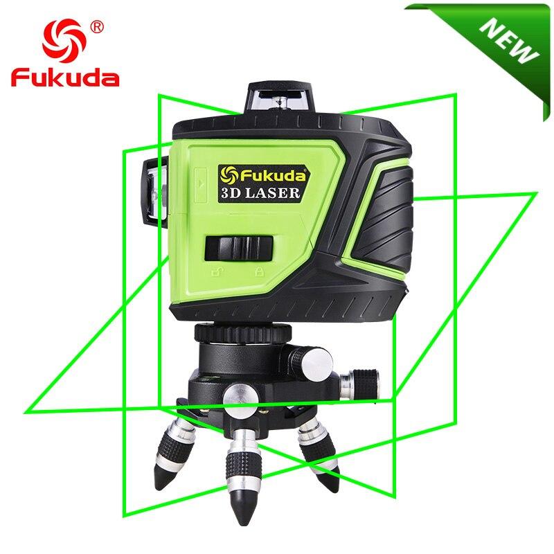 Fukuda Marque 12 Lignes 3D MW-93T-3G Niveau Laser Auto-Nivellement 360 Horizontal Et Vertical Croix Super Puissant VERT Laser faisceau